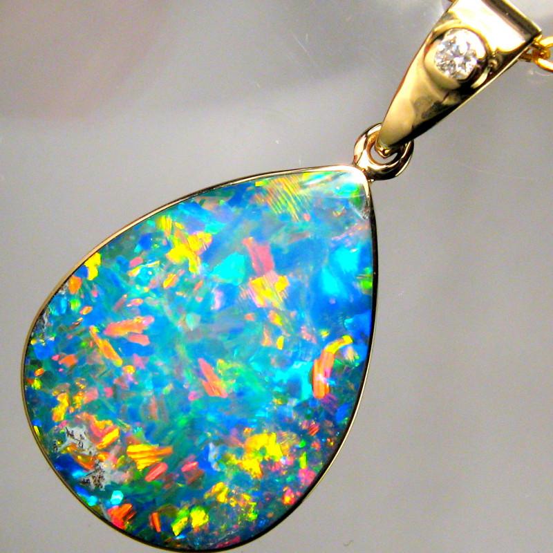 6.8ct Genuine Australian Opal & Diamond Pendant Inlay Jewelry 14k Gold