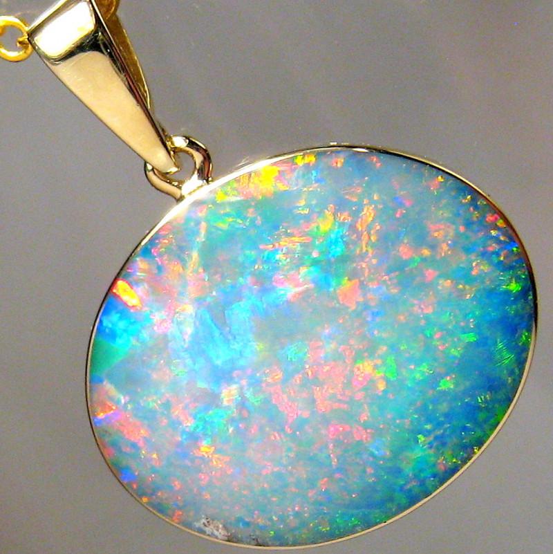 Australian Opal Pendant 7.7ct 14k Gold Authentic Genuine Inlay Jewelry Gift