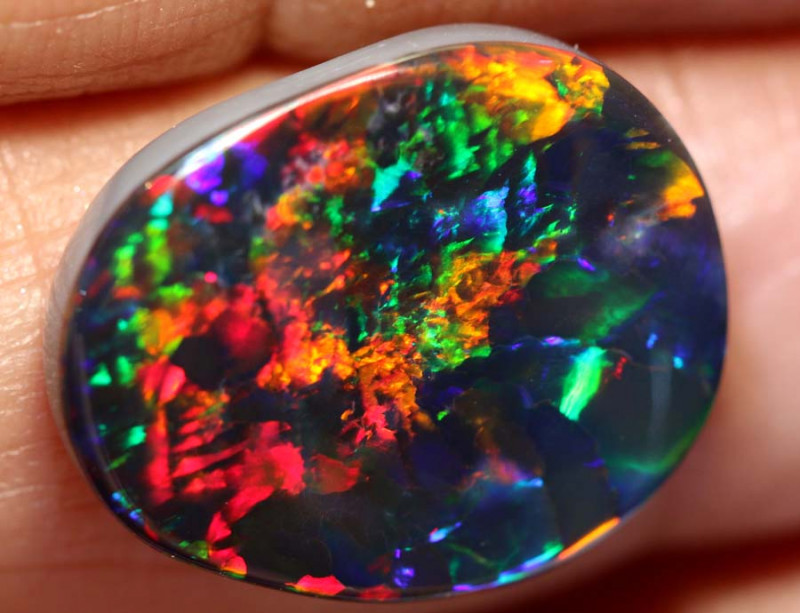 N1 -6.79 CTS QUALITY RED ON BLACK OPAL  STONE INV-148-INVESTMENTOPALS