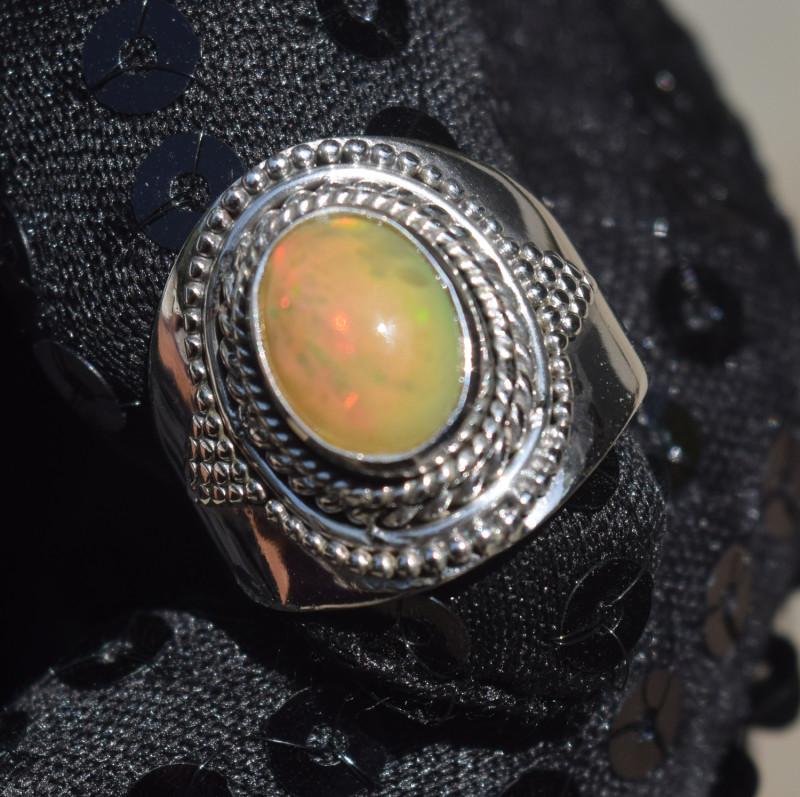 ETHIOPIAN OPAL RING 925 STERLING SILVER JE1556