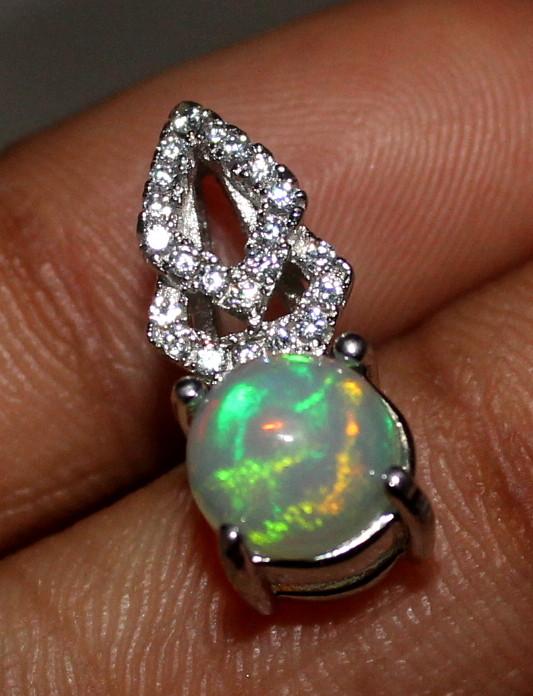Natural Ethiopian Welo Fire Opal 925 Silver Pendant 8