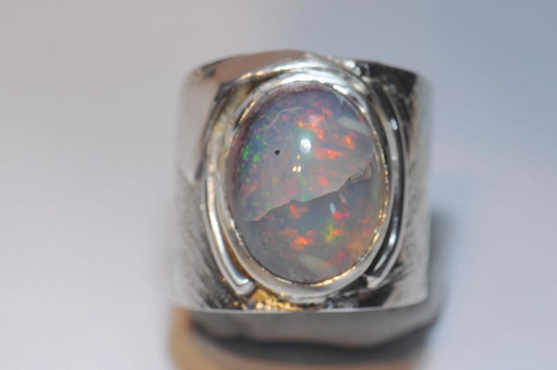 6sz Mexican Matrix Cantera Multicoloured Fire Opal Sterling Silver Ring