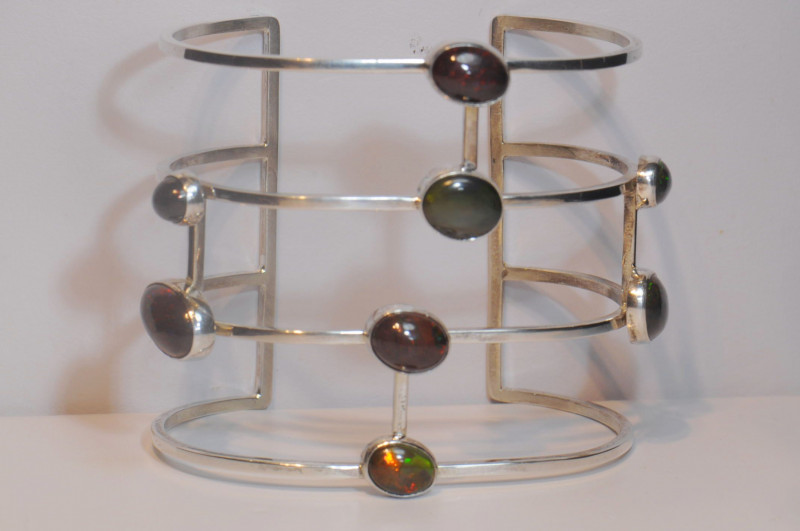 225ct Mexican Smoked Opal Man Bracelet / 6 inches measure