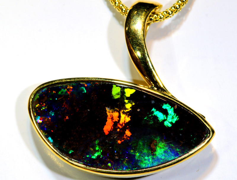 48.60CTS - BEAUTIFUL BOULDER OPAL GOLD PENDANT INV-1190