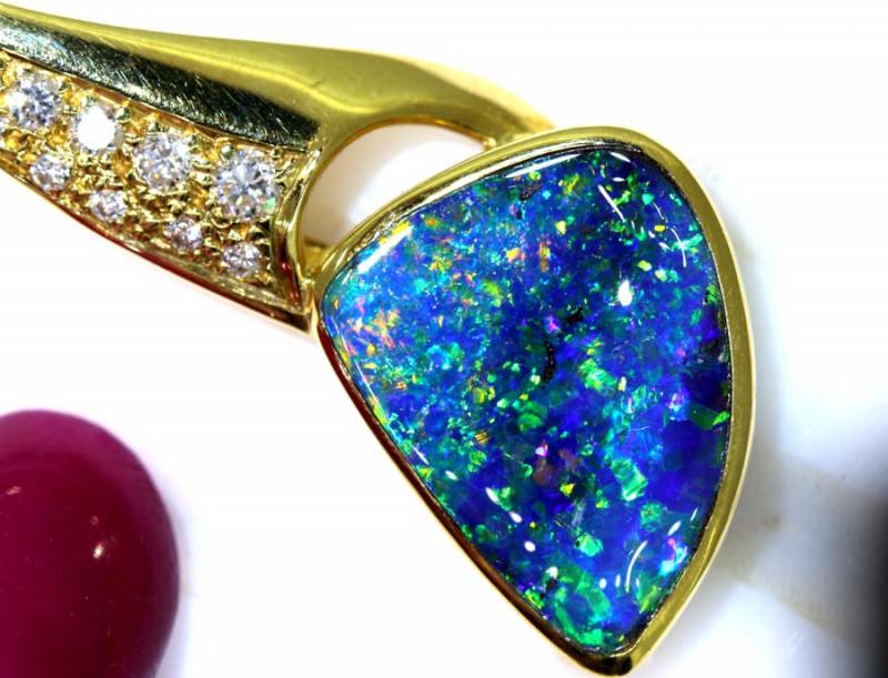 31.30CTS - BEAUTIFUL BOULDER OPAL GOLD PENDANT INV-1192