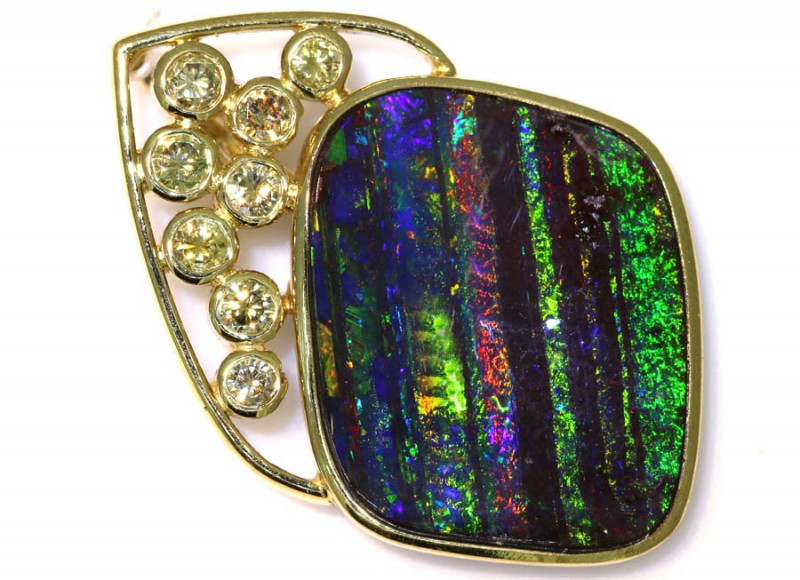 62.85CTS - QUILPIE  BOULDER OPAL GOLD PENDANT INV-1196