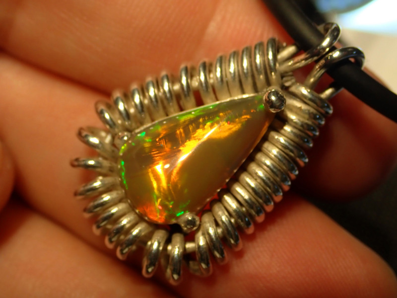 80ct Blazing Welo Solid Opal .925 Sterling Pendant
