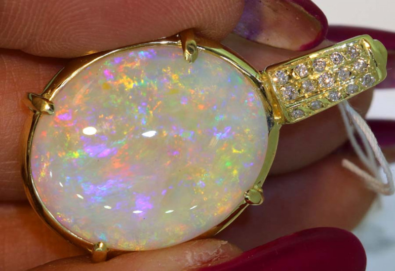 20CTS  BEAUTIFUL WHITE OPAL YELLOW GOLD PENDANT INV - JE4