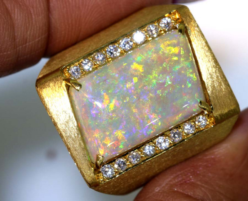 40 CTS GEM CRYSTAL GOLD OPAL  RING INV- JE6