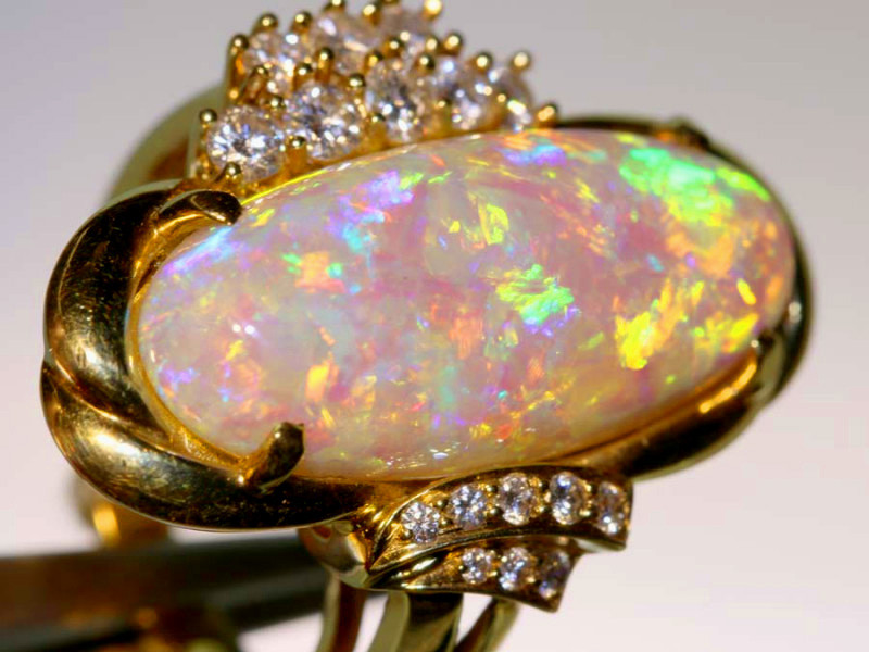 23 CTS YELLOW GOLD OPAL AND GEMSTONES RING INV- JE12