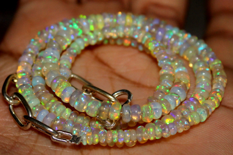 34 Crt Natural Ethiopian Welo Fire Opal Beads Necklace 1168