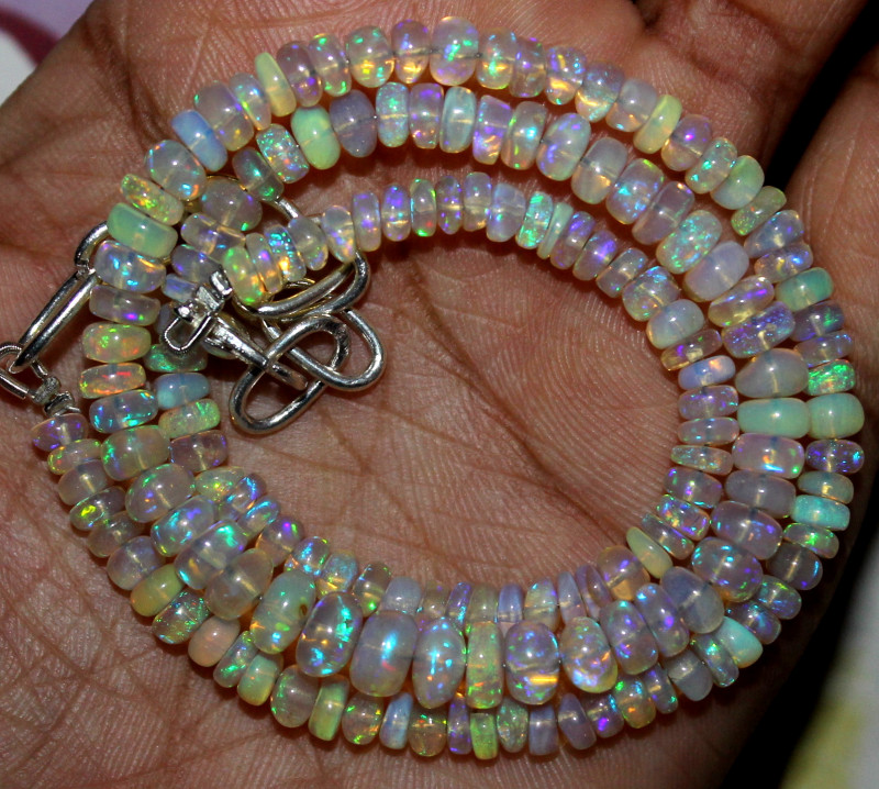 55 Crt Natural Ethiopian Welo Fire Opal Beads Necklace 1169