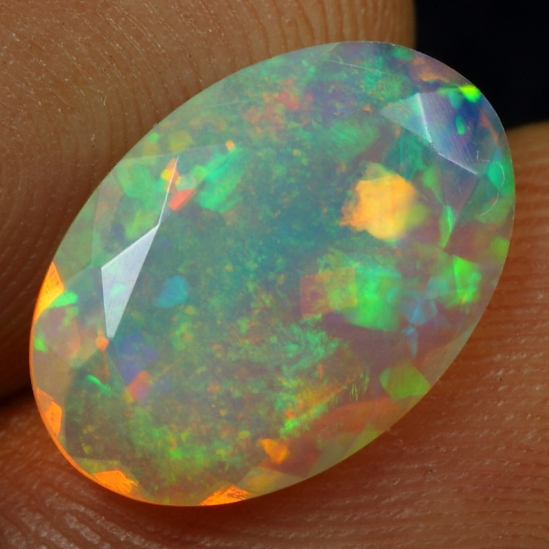 2.80cts  Iridescence Galaxy Pin Fire Natural Ethiopian Welo Faceted Opal