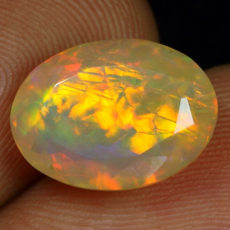 3.35cts Broad Chaff Fire Pattern Natural Ethiopian Welo Faceted Opal