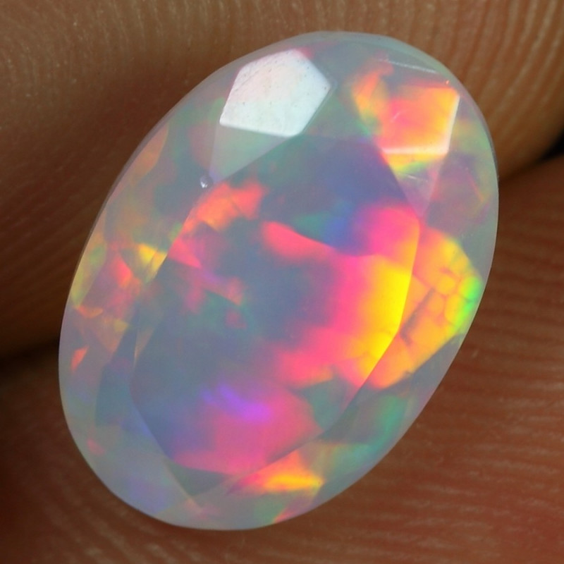 2.70cts Rainbow Floral Pattern Natural Ethiopian Welo Faceted Opal