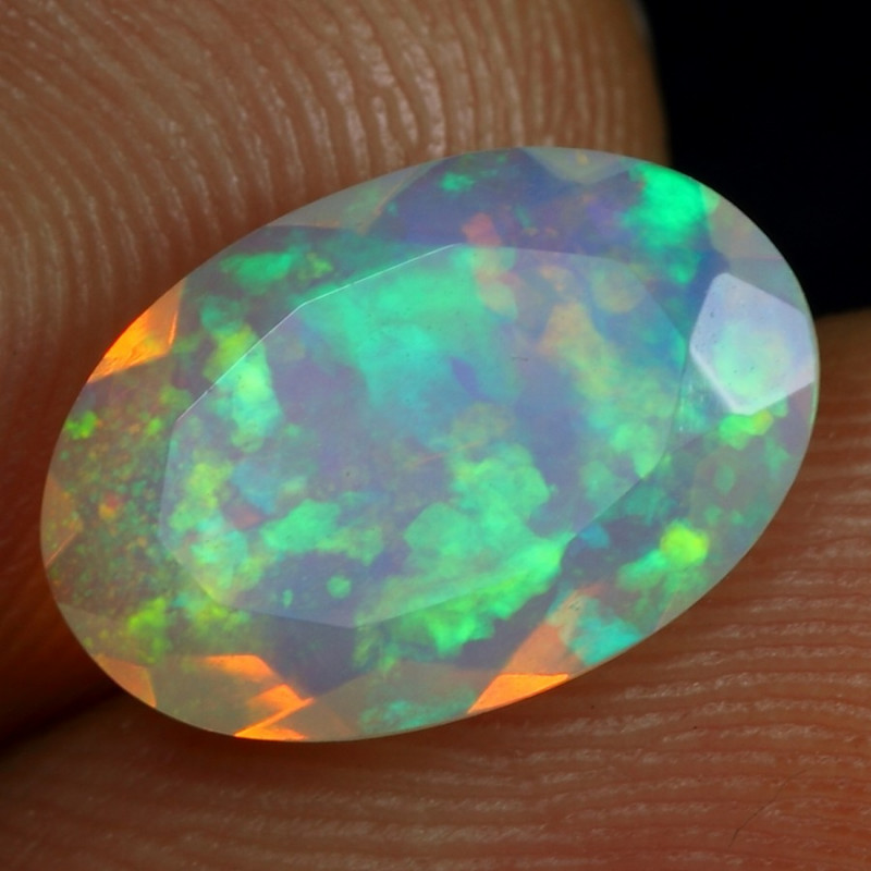 Video - 2.00cts 5/5 Fire Floral Pattern Natural Ethiopian Welo Faceted Opal