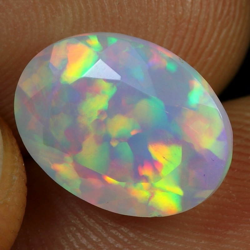 3.10cts Rainbow Floral Pattern Natural Ethiopian Welo Faceted Opal