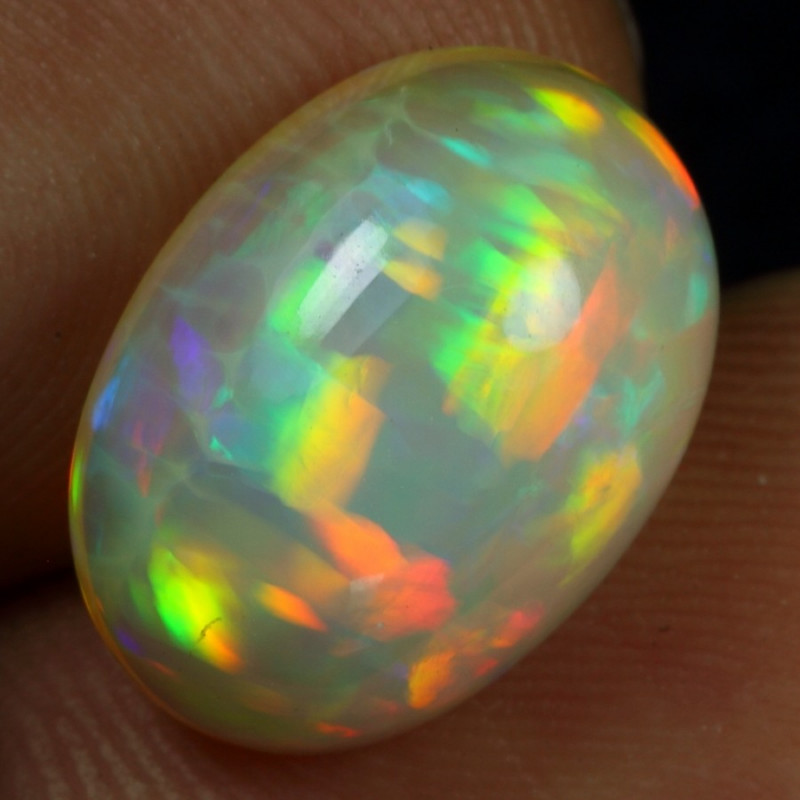 5.25cts Parrot Feather and Cell Pattern Natural Ethiopian Welo Opal