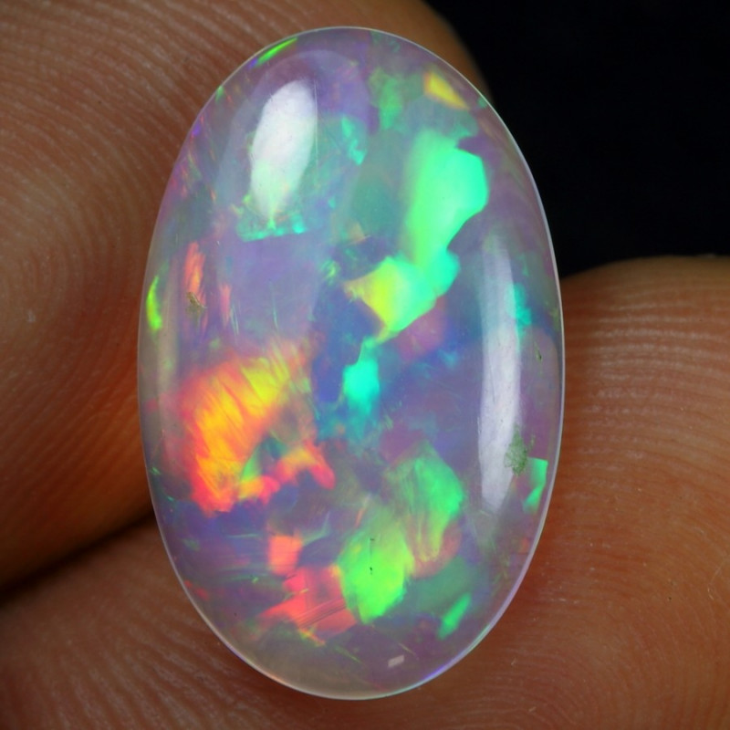 3.55cts Superb Strong Fire 3D Flagstone Natural Ethiopian Welo Opal