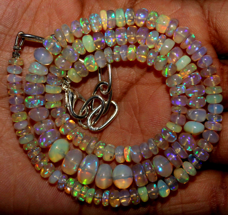 65Crts Natural Ethiopian Welo Fire Opal Beads Necklace 1216