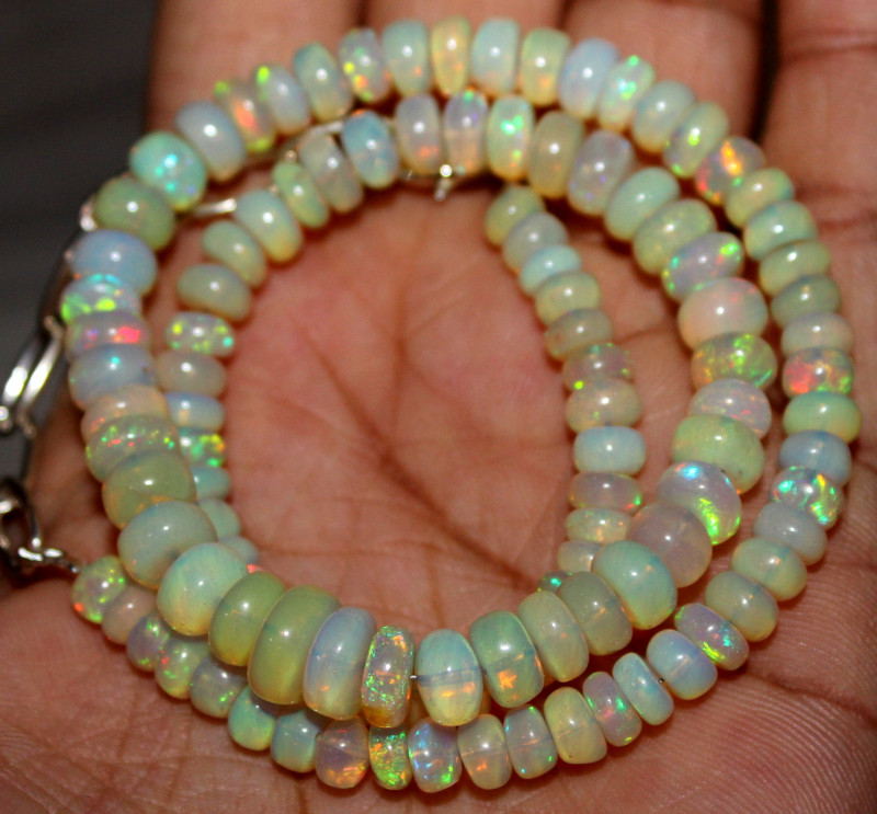 79 Crts Natural Ethiopian Welo Fire Opal Beads Necklace 1211