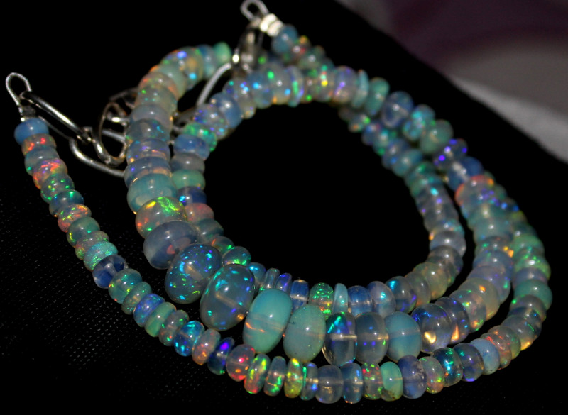 62 Crts Natural Ethiopian Welo Fire Opal Beads Necklace 1233