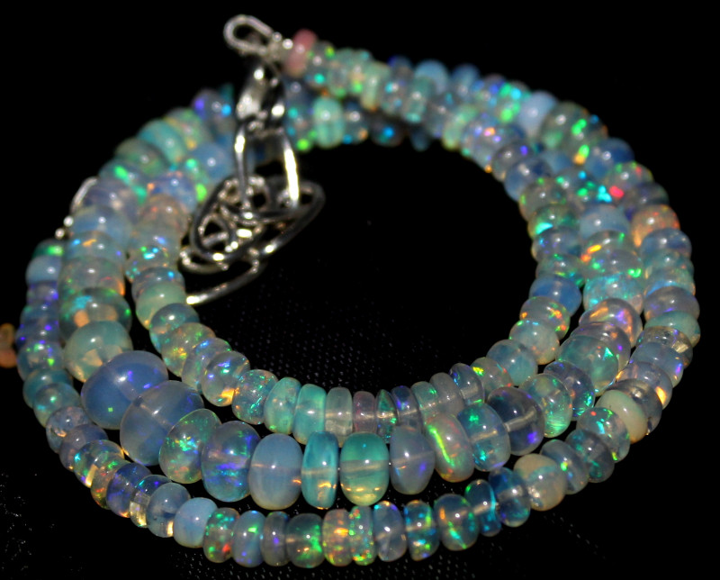 61 Crts Natural Ethiopian Welo Fire Opal Beads Necklace 1230