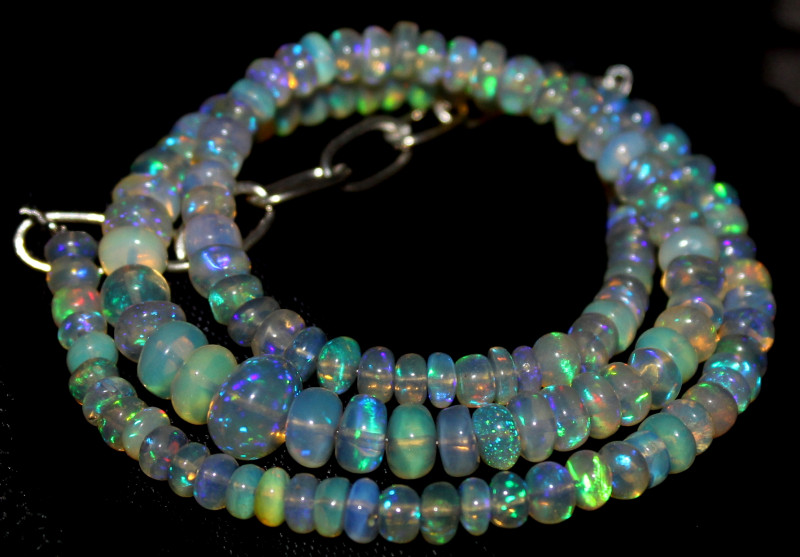 63 Crts Natural Ethiopian Welo Fire Opal Beads Necklace 1227