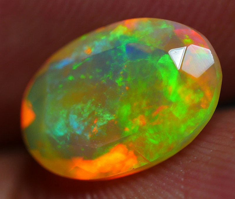 1.50 CRT BEAUTY FACETED FLORAL PIN FIRE PATTERN PLAY COLOR WELO OPAL*K73