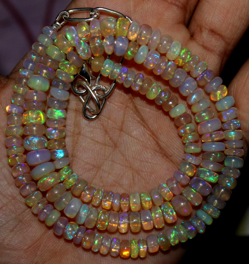 93 Crts Natural Ethiopian Welo Fire Opal Beads Necklace 1226
