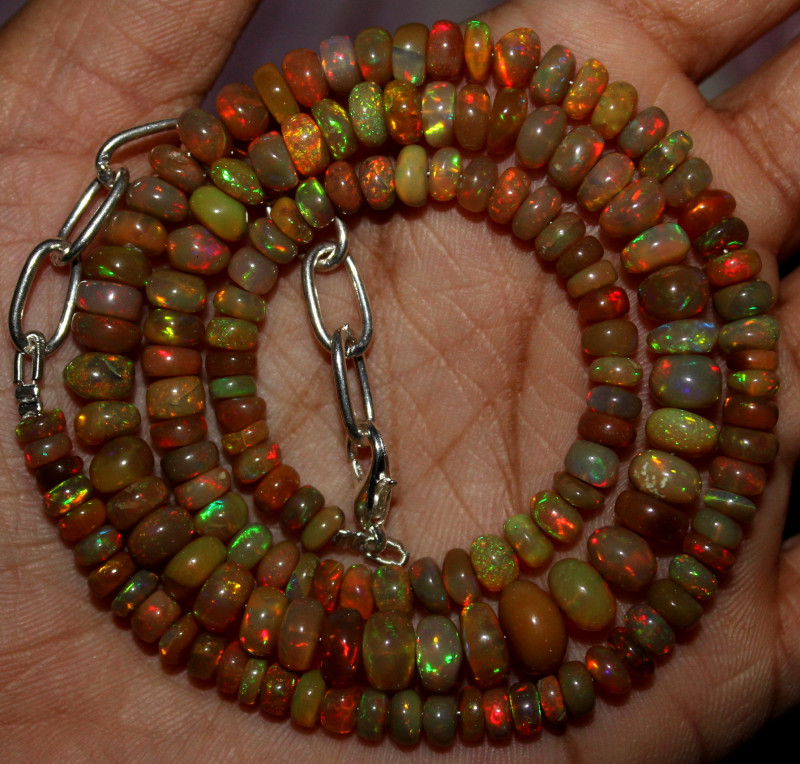 80 Crts Natural Ethiopian Welo Fire Opal Beads Necklace 1225