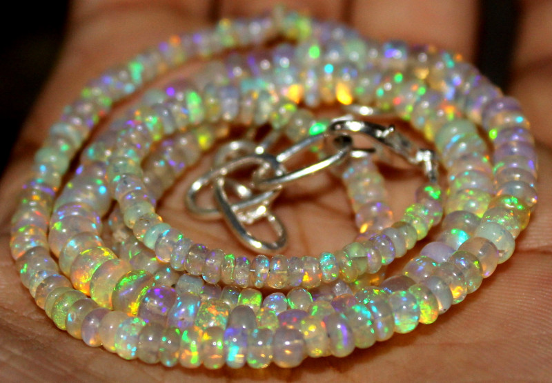 42 Crts Natural Ethiopian Welo Fire Opal Beads Necklace 1205