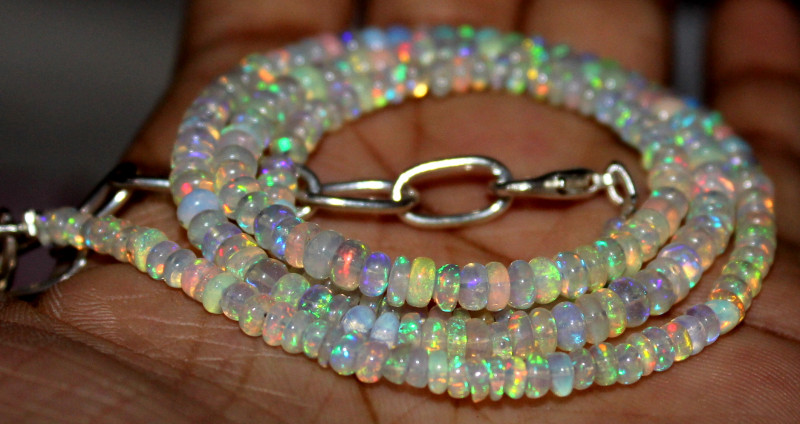 39 Crts Natural Ethiopian Welo Fire Opal Beads Necklace 1203