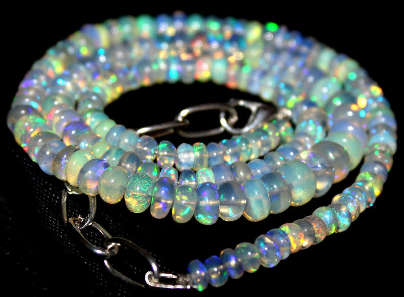66 Crts Natural Ethiopian Welo Fire Opal Beads Necklace 1202