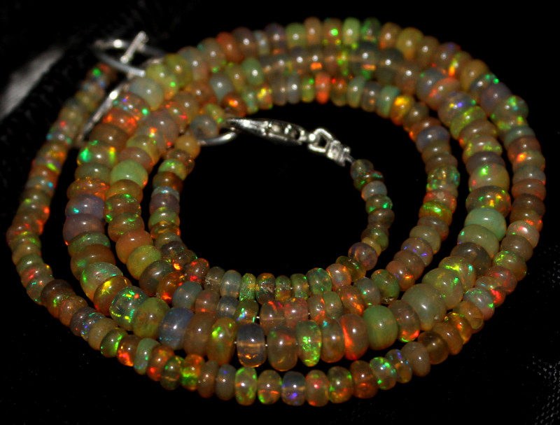 50 Crts Natural Ethiopian Welo Fire Opal Beads Necklace 1258