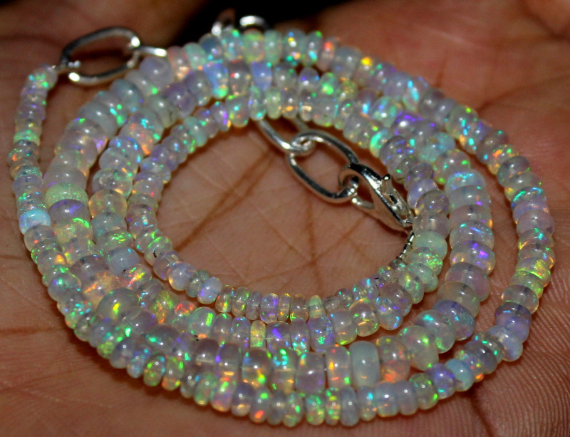 41 Crts Natural Ethiopian Welo Fire Opal Beads Necklace 1253