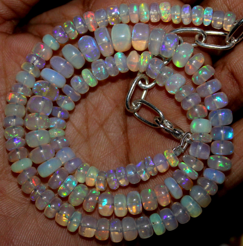 82 Crts Natural Ethiopian Welo Fire Opal Beads Necklace 11173