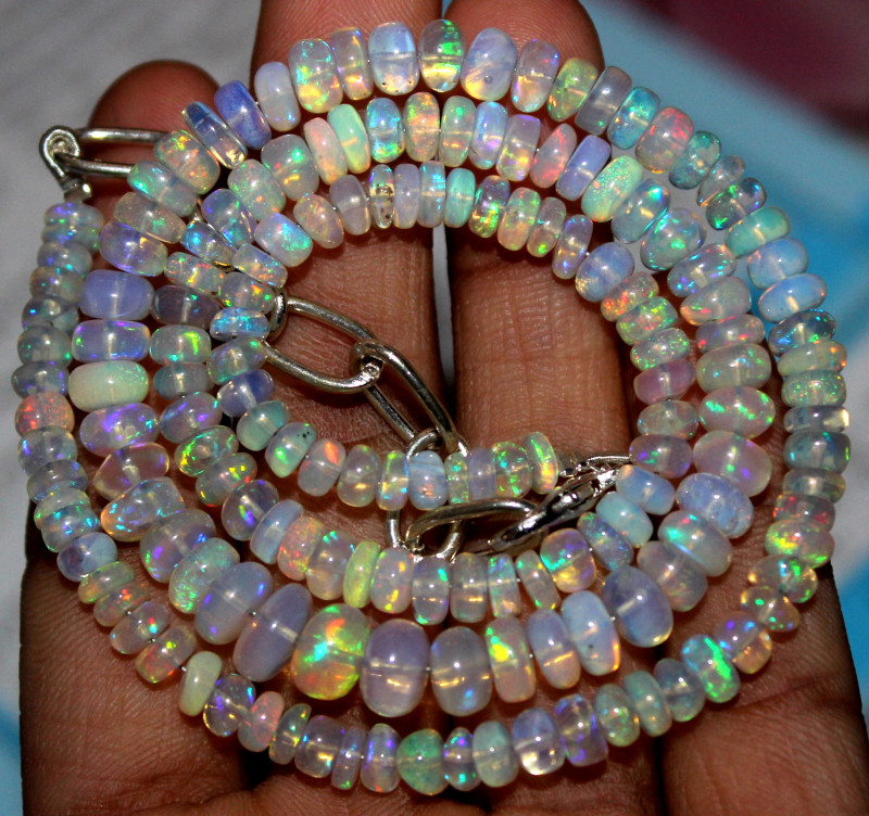 67 Crts Natural Ethiopian Welo Fire Opal Beads Necklace 1136