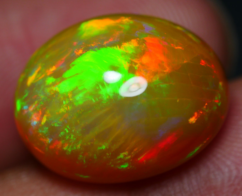 10.75 CRT GORGEOUS DARK BASE PATCHWORK FIRE PATTERN MULTICOLOR WELO OPAL-