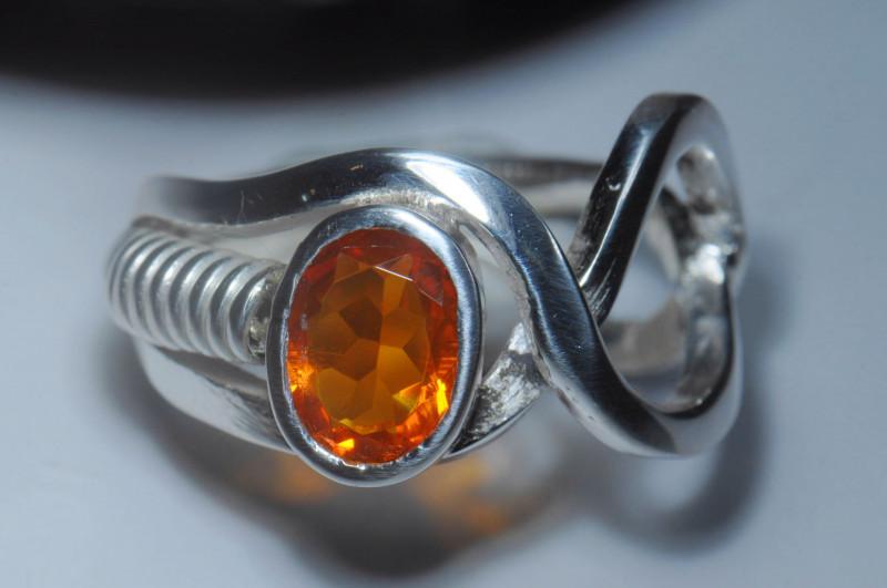 Sz7 SOLID ORANGE OPAL STERLING SILVER RING