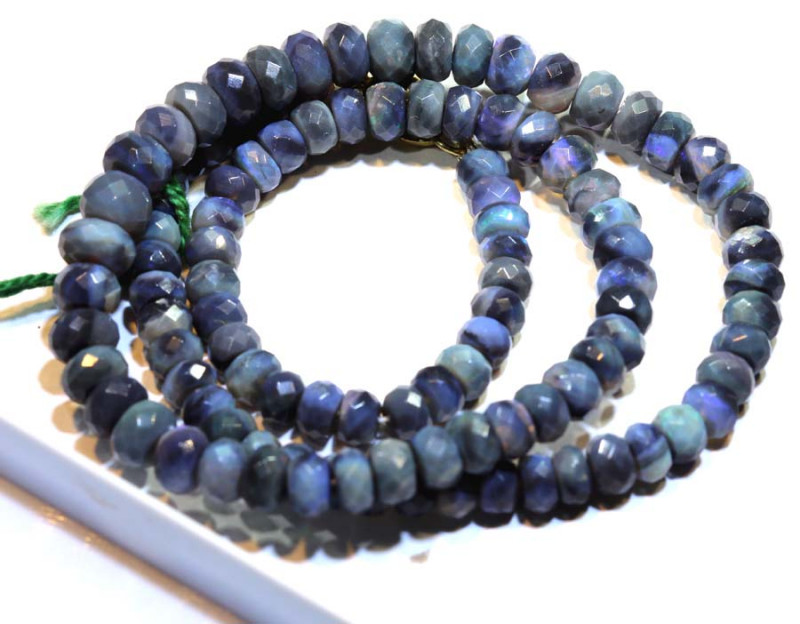 87.90 CTS BLACK OPAL FACETED BEADS STRAND TBO-8885