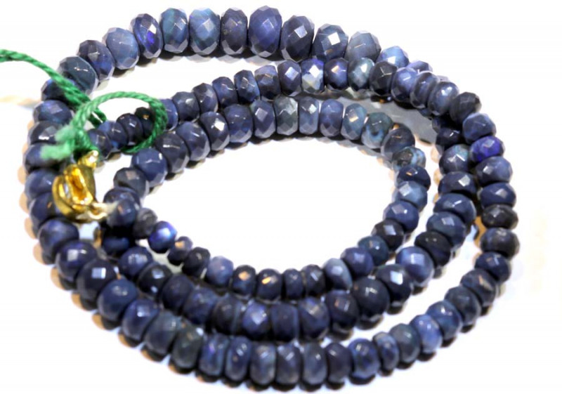 83.70 CTS BLACK OPAL FACETED BEADS STRAND TBO-8891