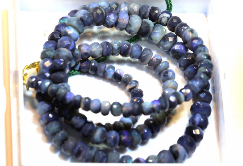 66.75 CTS BLACK OPAL FACETED BEADS STRAND TBO-8894