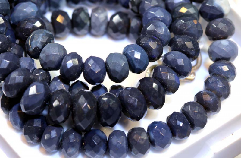 94.60 CTS BLACK OPAL FACETED BEADS STRAND TBO-8897