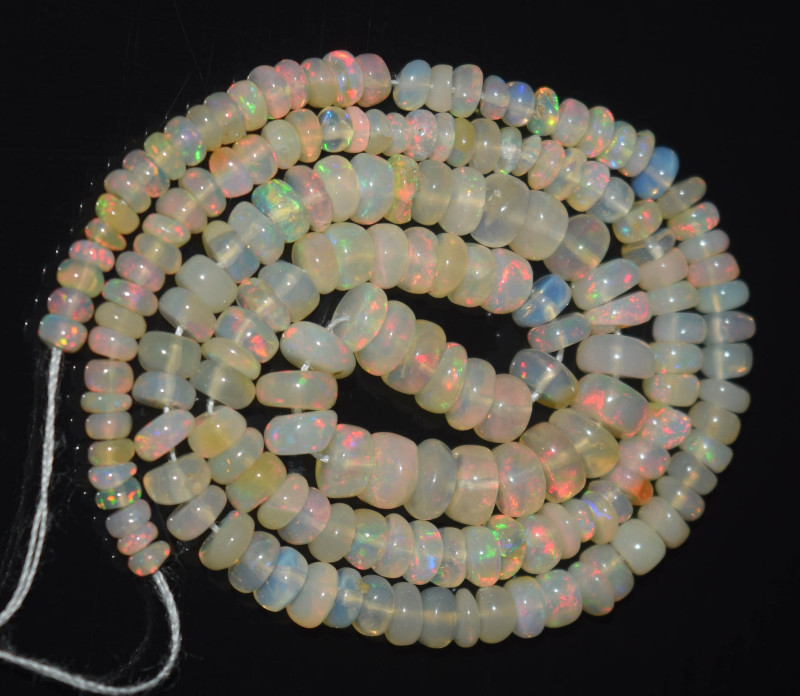 30.05 Ct Natural Ethiopian Welo Opal Beads Play Of Color