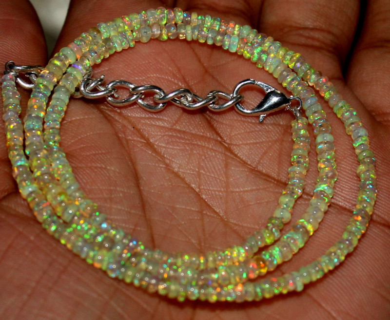 25 Crts Natural Ethiopian Welo Fire Opal Beads Necklace 533
