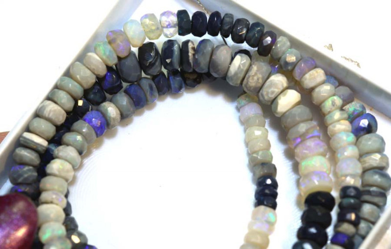 63 CTS BLACK OPAL FACETED BEADS STRAND TBO-8983