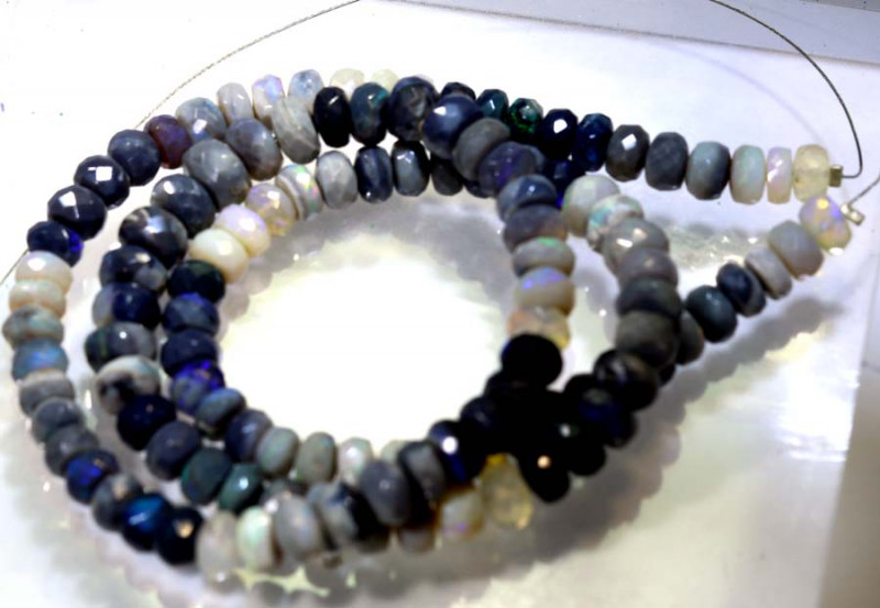106.90 CTS BLACK OPAL FACETED BEADS STRAND TBO-8984