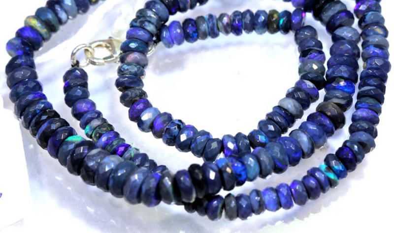 85.80 CTS BLACK OPAL FACETED BEADS STRAND TBO-8988