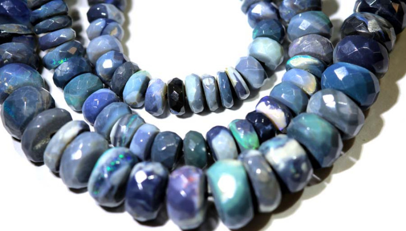 81.40 CTS BLACK OPAL FACETED BEADS STRAND TBO-8990